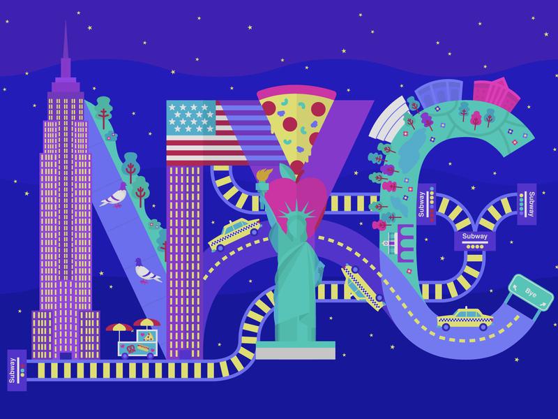 NYC Illo statue of liberty pidgeon subway pizza illustration illo vector new york city new york nyc