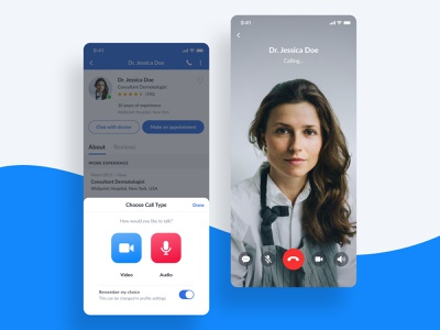 Calling Doctor — Choose Call Type video chat video call audio call call voip doctor medical medicine app ux ui