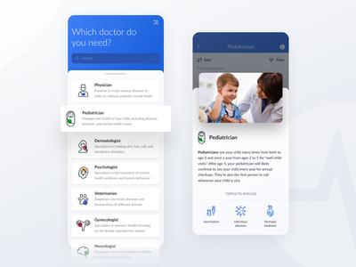 Heal Platform — Choosing Doctor Specialty