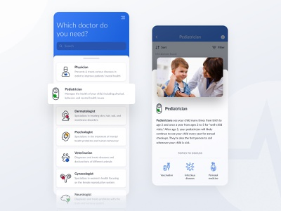 Heal Platform — Choosing Doctor Specialty app ui neurologist gynecologist vet psychologist dermatologist physician medic appoint appointment specialist clean blue treatment medical app medical doctor healthcare health