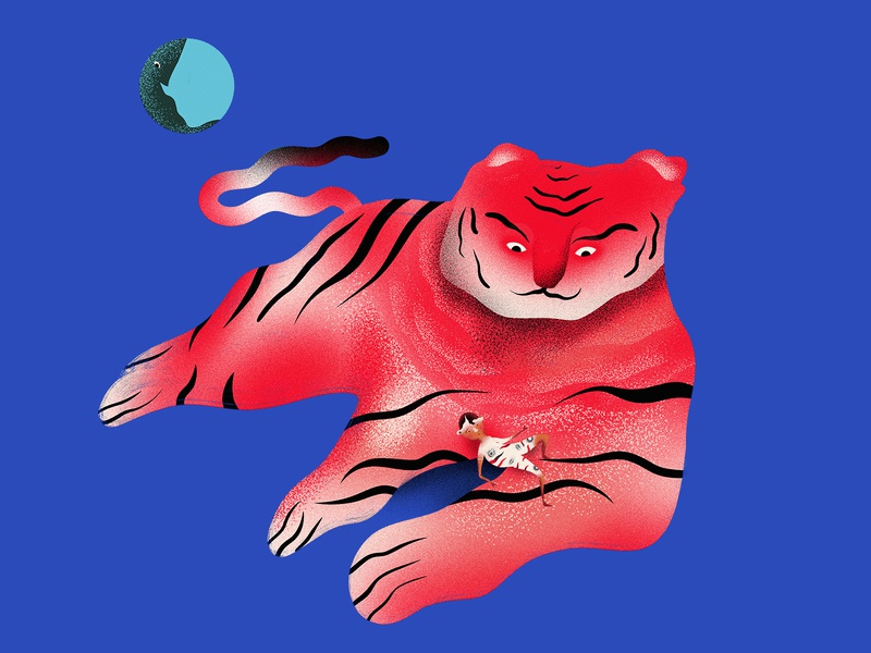Tiger tiger digitalart art painting photoshop design character concept illustration