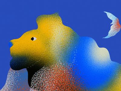 Lion blue animal drawing concept painting digital art illustration lion