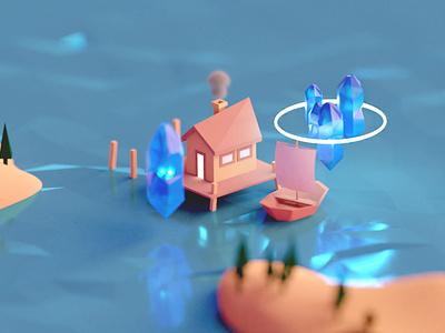 Crystal house blender3d 3d art crystal house digitalart design concept illustration blender 3d