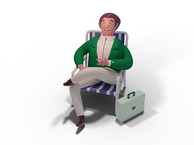 Businessman bussines businessman branding ui concept design character illustraion blender render 3d