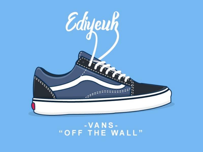 Vans art vans sneakers lineart illustration vector