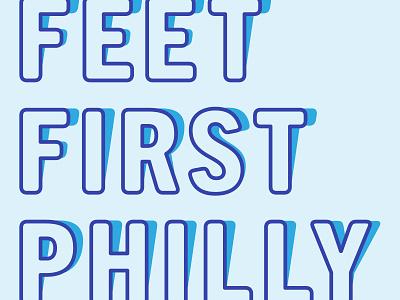 Feet First shadow vector design typography logo crosswalk caution cone pedestrian urban philadelphia city branding type