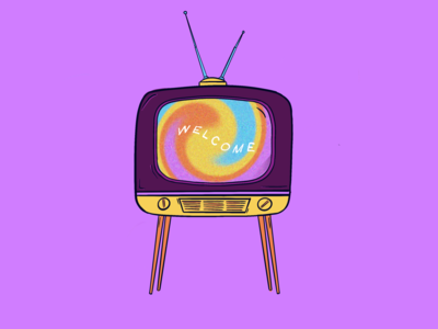 Welcome to the Twilight Zone static procreate illustration netflix streaming tv app twilight zone twist tie dye retro tv