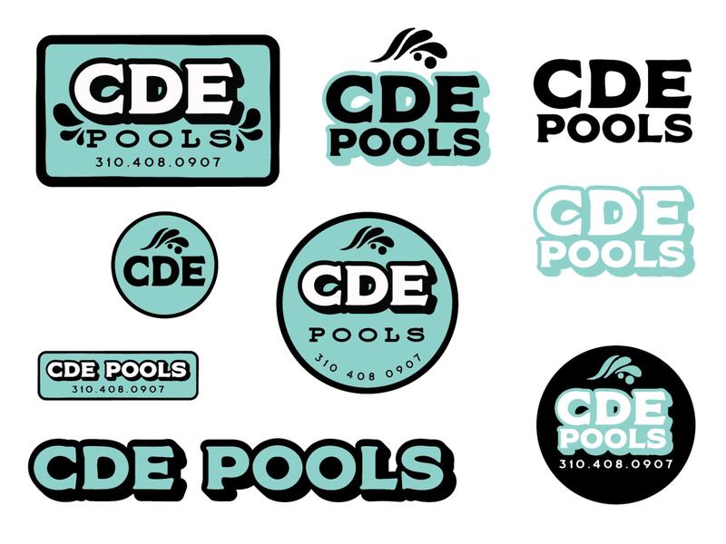CDE Pools Logo Set logoset pool logo logo design logos logo graphic design branding badge logo