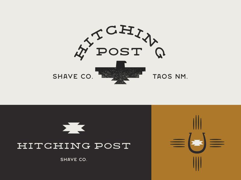 Hitching Post Shave Co logo mark logo marks branding horse shoe thunder bird logo south western southwest logo thunderbird