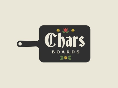 Chars Boards typeface germanic food restaurant branding branding logodesign logo gaslight font charcuterie board cutting board flowers german charcuterie