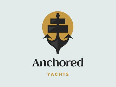 Anchored Yachts Logo boat logo boat sailing logo sailing nautical branding nautical logo nautical anchor anchor logo yacht logo yacht daily logo challenge branding graphics illustrator logos brand logo graphic design