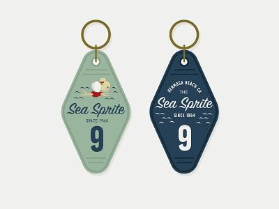 Sea Sprite Motel Keys retro sprite beach side beach hotel motel key chain motel key logos design vector graphics illustrator brand logo design logo branding graphic design