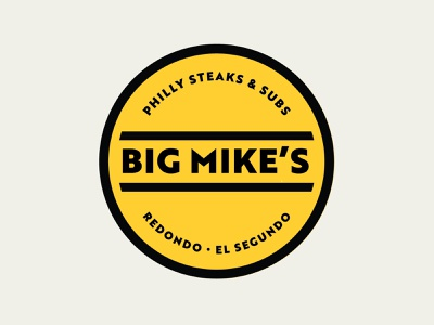 Bike Mikes Philly Steaks & Subs logos logo design philly cheese steaks grab and go eatery badge logo badge logo sub yellow branding sandwiches restaurants