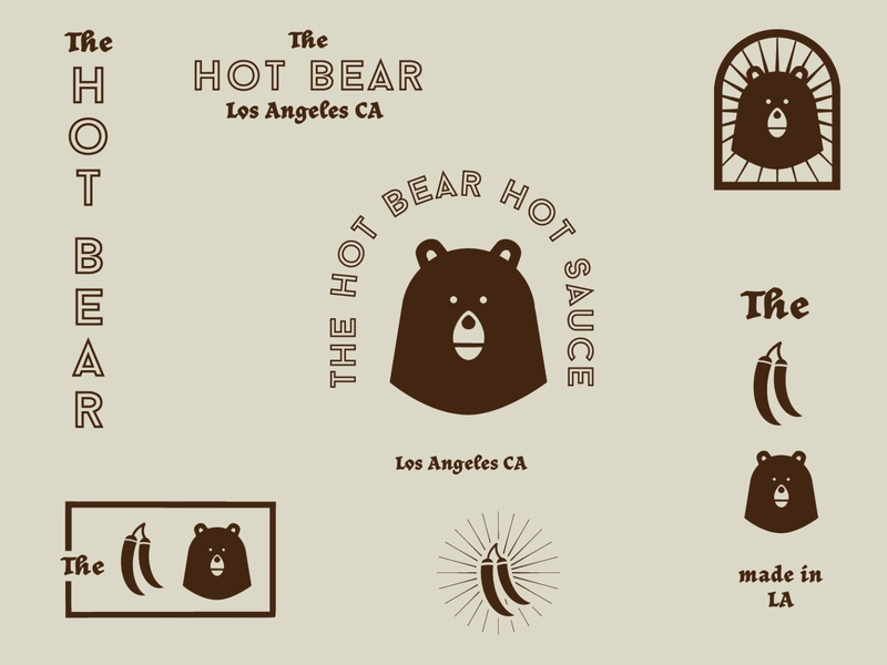 The Hot Bear logo system bears bear logo hot sauce food logo ai illustration vector illustrator brand logos logo branding logo design graphic design