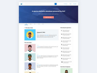 """""""Google for Sports Stats"""" homepage final version"""
