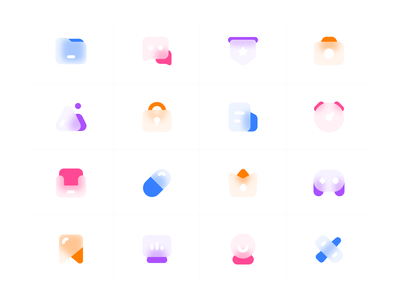 Frosted glass icons illustration 设计 图标 ui 简单
