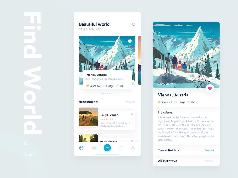 Travel Sharing App 分享 旅行 插图 图标 设计 应用 简单 ui