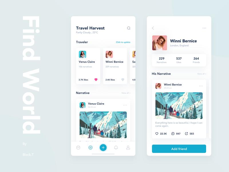 Travel Sharing App 插图 应用 旅游 设计 简单 图标 ui