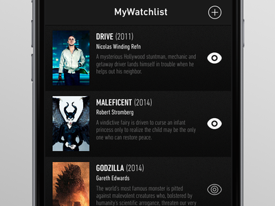 MyWatchlist App - movies list list ui interface cinema films movies ios app mobile iphone