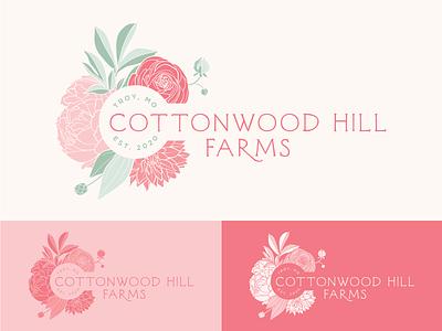 Cottonwood Hill Farms Logo - WIP graphic designers dahlia logo design ranunculus peony st. louis missouri illustrative illustration floral farm flower