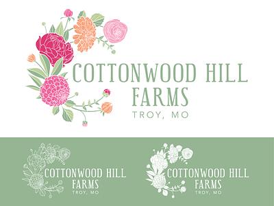 Cottonwood Hill Farms Logo st louis mo missouri wreath bouquet design illustration identity branding logo farm flower