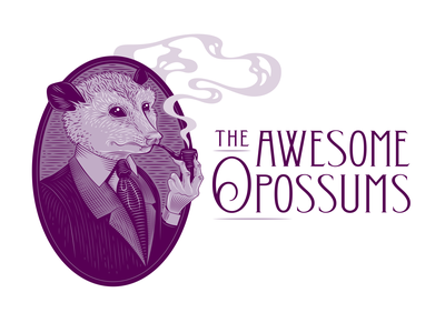 The Awesome Opossums Logo Design fancy portrait old fashioned mascot smoke pipe funny possum opossum illustration engraving etching
