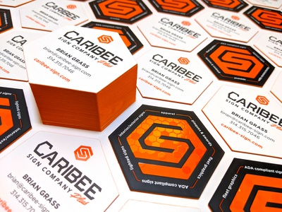 Caribee Sign Company - Business Cards business card st louis orange honeycomb sign company embossed spot uv colored edges painted edges hexagon hexagonal design