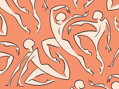 Dancers art movement silhouette procreate pattern digital drawing figure gestural illustration expressive abstract dancers dancer