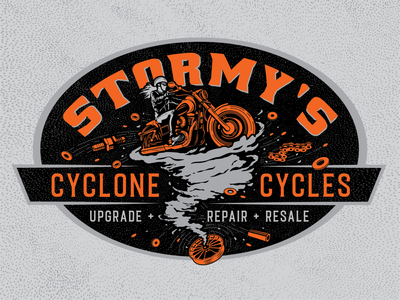 Stormy's Cyclone Cycles t-shirt orange black vintage illustration illustrative detailed harley repair body shop tornado biker motorcycle badge logo