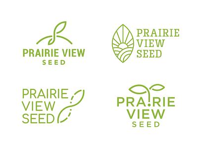 Prairie View Seed Logo minimalist icon identity sun infinity infinite seedling leaf agronomy seed logo