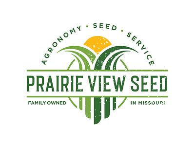 Prairie View Seed Logo Design designer logo missouri distressed badge field sunrise farm farming corn seed agronomy