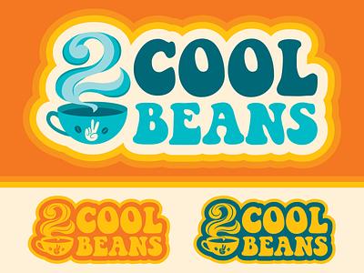 2 Cool Beans Coffee Truck Logo identity peace brand branding designer graphic design missouri st louis 70s 60s hippie retro beans cool 2 two coffee logo