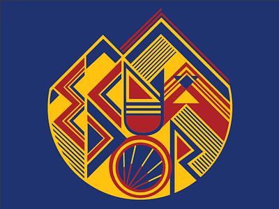 Ecuador Emblem abstract geometric sun mountain badge ecuador
