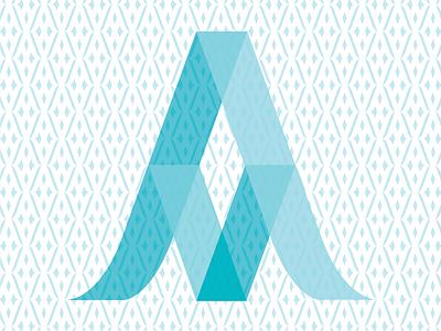 AM Monogram teal typography am transluscent 3d pattern monogram
