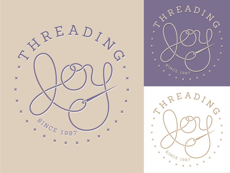 Threading Joy Logo purple typography lettermark wordmark mark branding brand identity logo needle sewing thread joy threading