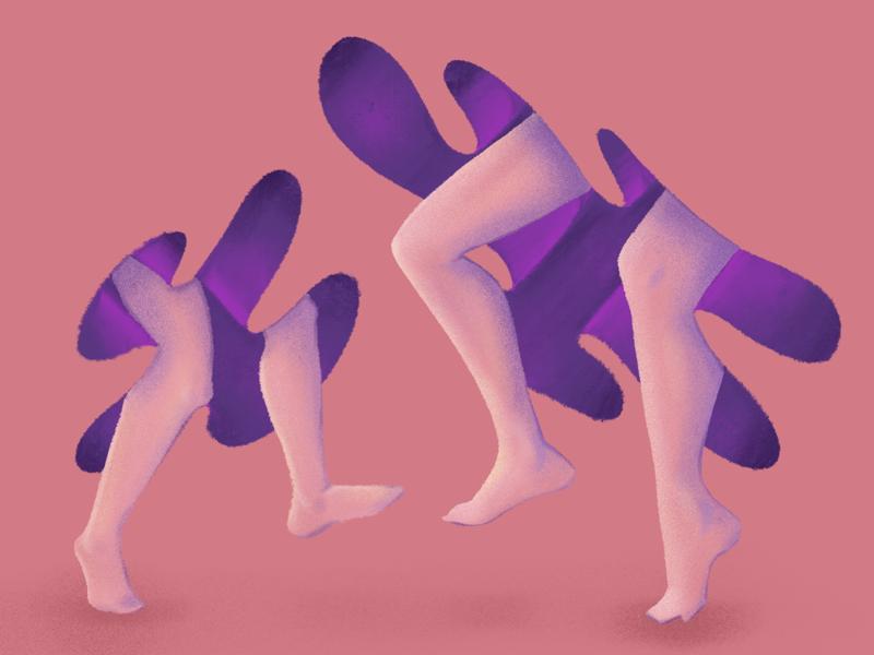 Joyful Legs surrealism drawing conceptual illustration figure female purple peach skirts barefoot daughter mother legs dancing procreate