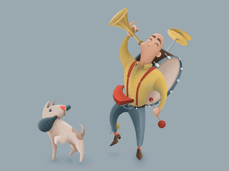 One Man / One Dog Band character design man drawing procreate music instrument book childrens children cute cartoon illustration dog one man band design character