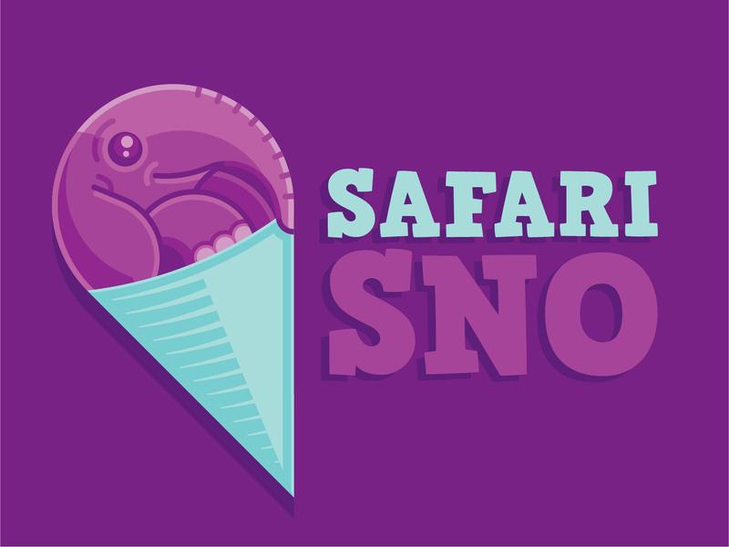 Safari Sno - Logo Design icecream kids mark baby purple illustration icon branding cute shaved ice snow cone sno cone safari logo elephant