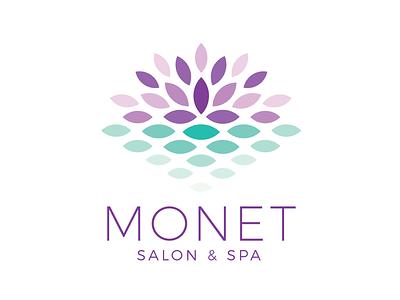 Monet Salon & Spa Logo water lily reflection impressionism monet identity salon spa lotus flower icon brand branding mark design logo