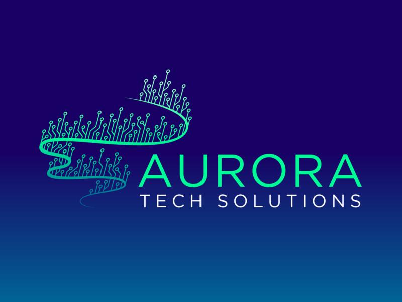 Aurora Tech Solutions - Logo Design circuit board clever tech identity circuits branding mark design it technology logo northern lights aurora borealis aurora