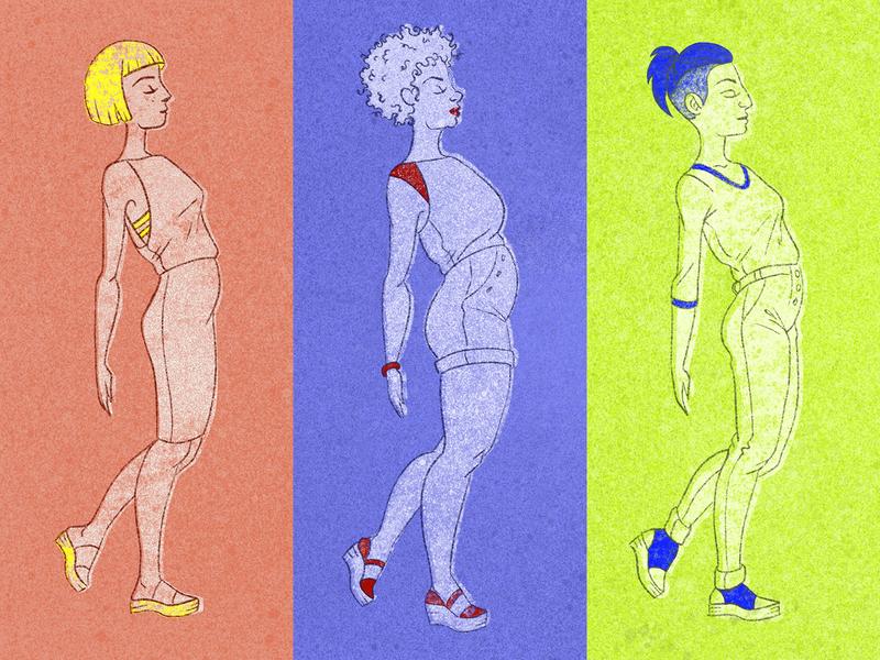 The Gals graphic color blocking ladies procreate drawing design character illustration walking confident unique women