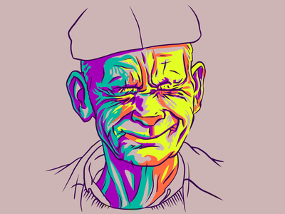 Squint illustration smiling line work procreate wrinkles wrinkly drawing painting art digital 2d colorful old man portrait