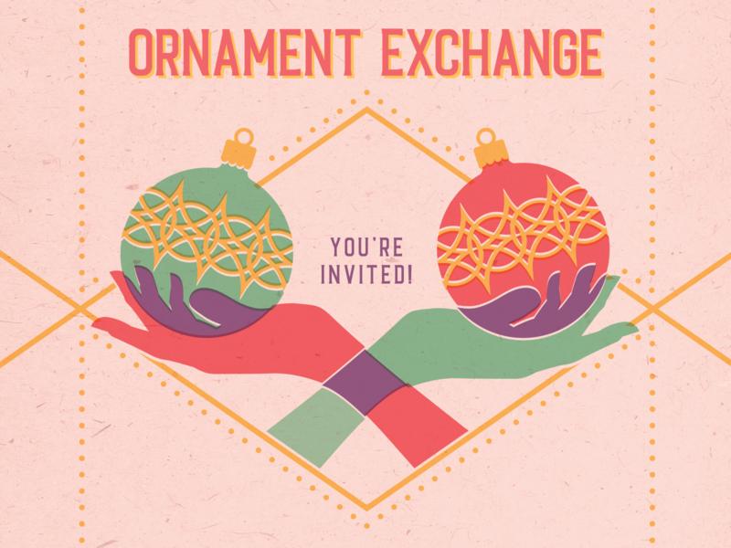 Ornament Exchange Invitation illustration flat holiday card invitation exchange ornament hands retro overprint christmas