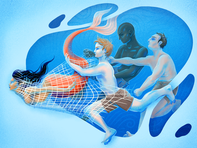 The One that Got Away - Cutout sea ocean marine book story art digital cutout illustration net caught mermaid