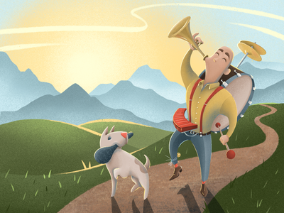 One Man + One Dog Band Headed Into Town instrument musical drawing art digital procreate illustration book childrens kids dog one man band