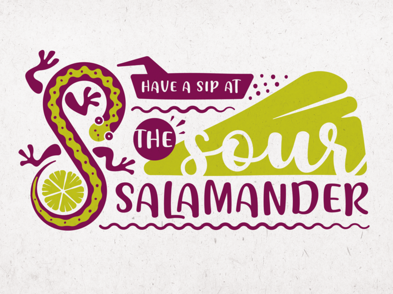 The Sour Salamander - Logo Design funky branding mexican identity salamander sour lemon lime lizard brand logo bar