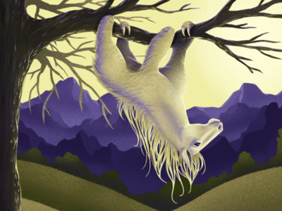 Horsloth (Greg) creature design fantasy hanging painting art digital procreate illustration funny animal mashup horse sloth
