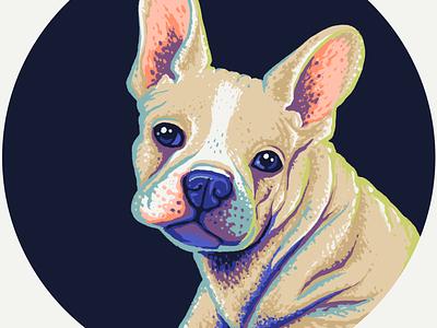 French Bulldog Puppy Portrait illustration dog puppy cute animal procreate painting art digital custom pet portrait french bulldog