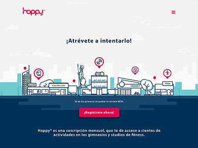 Hoppy Landing Page 2017 startup hoppy illustration landing page