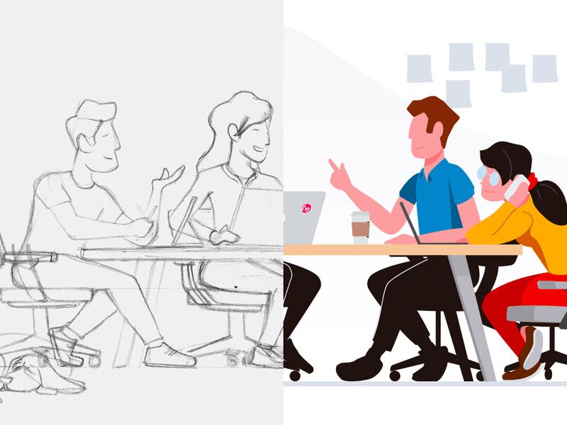 Illustration process illustration design team